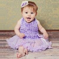 Dziewczynko Pierwsze Urodziny Księżniczki Purpurowa Róża Płatki Dekory Wstążki Koronki TuTu jednoczęściowe Ubrania Sukienka Kostium Strony Dobrodziejstw
