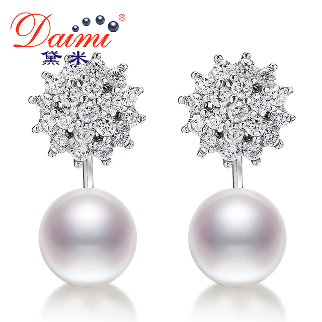 Daimi Nickel Free 9 10mm Pearl Earrings 925 Sterling Silver Jewelry Studs For