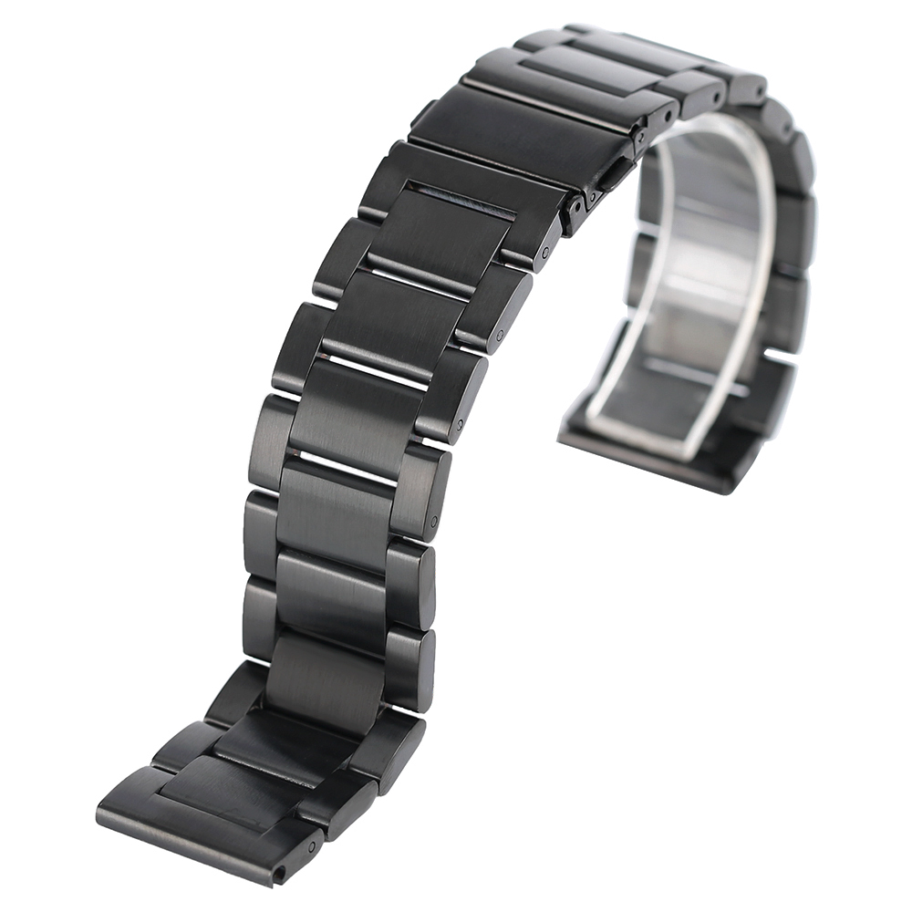Luxury Watchband Solid Stainless Steel Watch Strap Men Women 20mm 22mm Bracelet Black/Silver Wristwatch Replacemen+2 Spring Bars shiying men s fashion 316l stainless steel split leather bracelet black silver