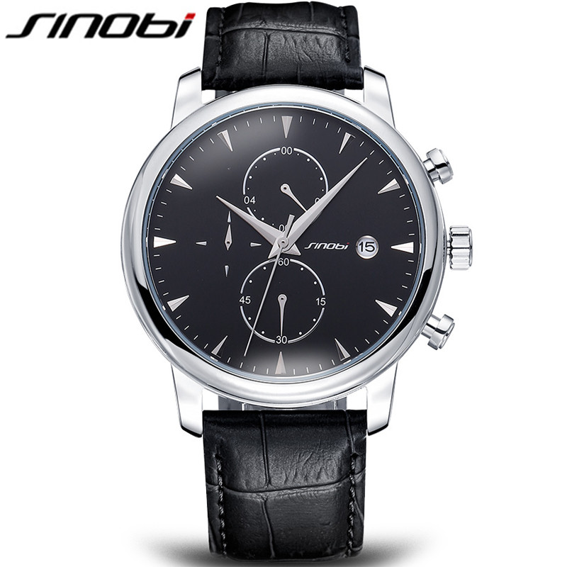SINOBI New Clock Man Famous Brand Watches Men Sport Casual Quartz Watch Leather Luxury Quartz-watch Wristwatch Relogio Masculino watch men led digital waterproof wristwatch casual man sport watches 2017 new weide famous brand saat erkekler horloges mannen