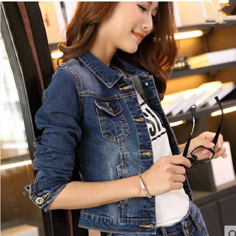 bb2a734f9 Spring Summer Long Sleeve Slim Jean Coat Vintage Dark Blue Short ...
