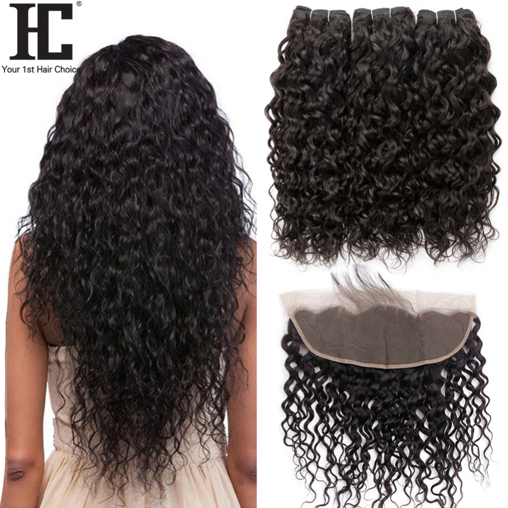 HC Human Hair Water Wave Bundles With Lace Frontal Closure Brazilian Hair 3 Bundles Deal With