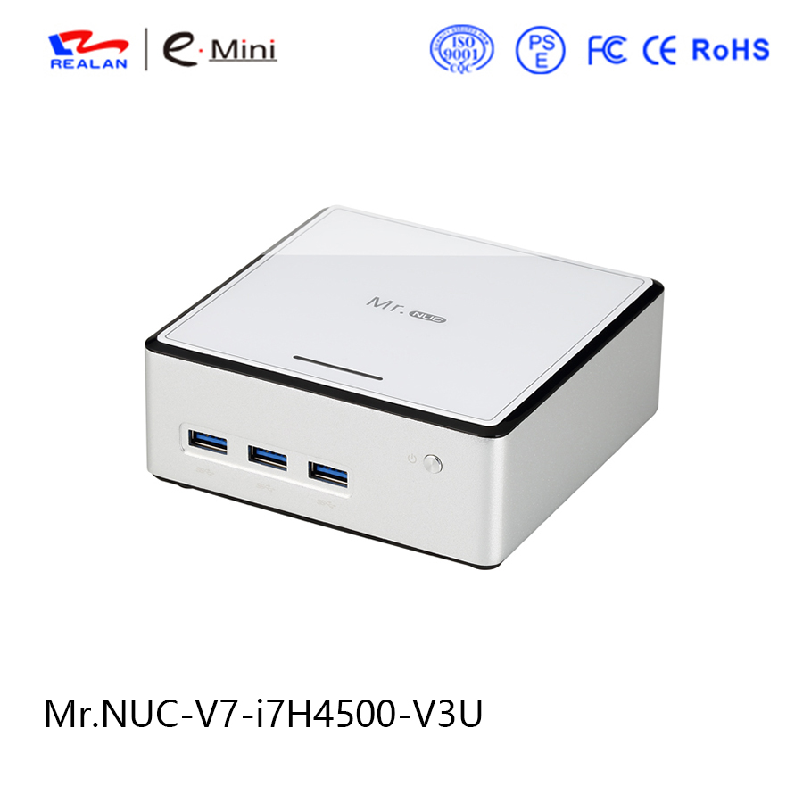 NUC V7 Intel core i7 H4500 Processor thin client Mini PC Barebone supporting windows 10 linux Android HDMI VGA wavelets processor