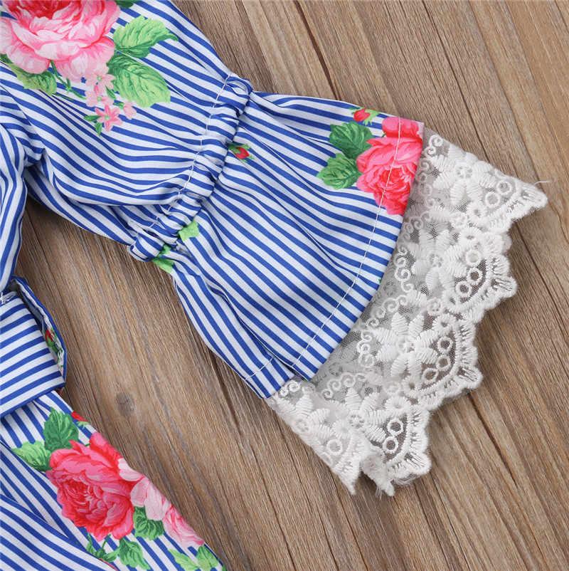 22cd5c14727 ... Blue Kids Baby Girl Off-Shoulder Flower Stripe Lace Romper Jumpsuit  Outfit Sunsuit Summer ...