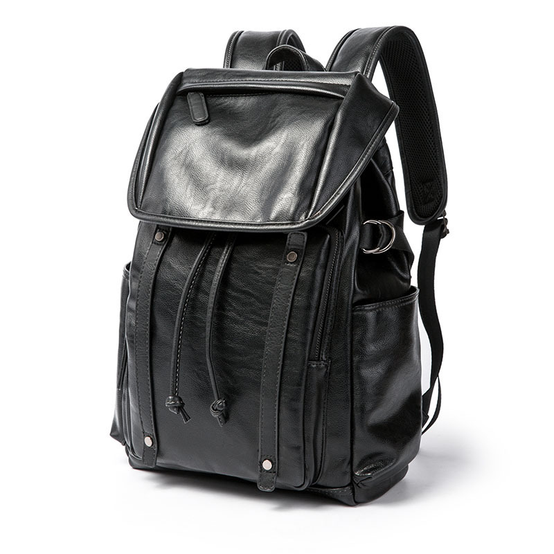 Backpack 2018 New Pretty Style PU Leather Men Solid Black Backpack Fashion Brand Male Casual Boys School Shoulder bags for Men