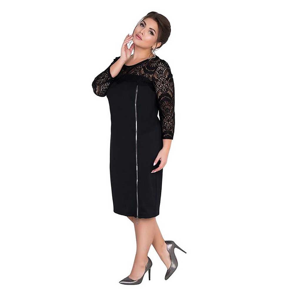 Wisalo Плюс Размер 6XL Многоуровневое кружевное платье на молнии спереди, украшенное облегающее платье, однотонное офисное женское платье для работы, повседневные платья