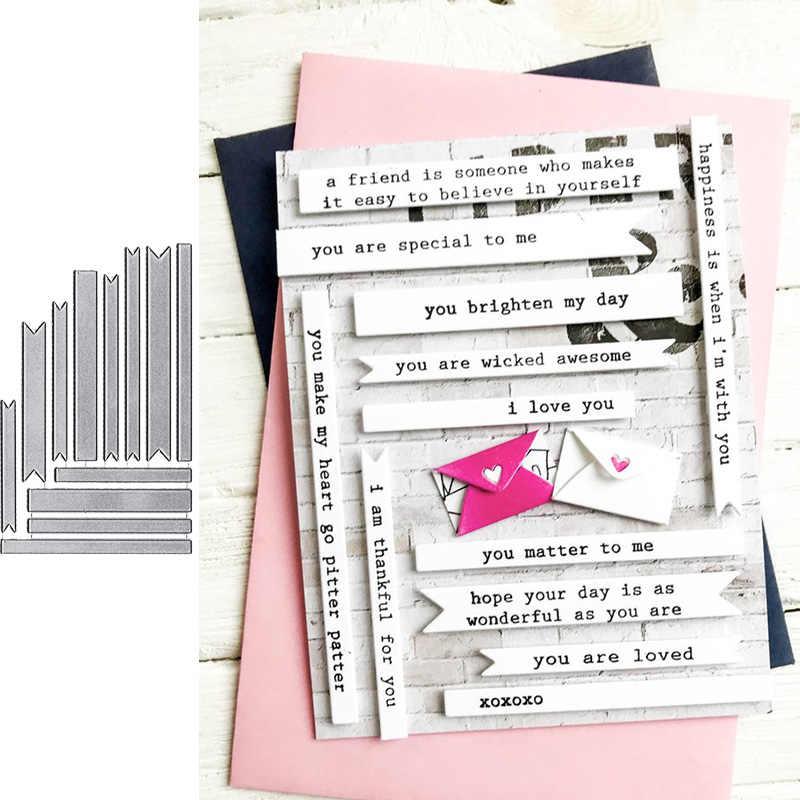 5Pcs Banner Design Metal Cutting Die For DIY Scrapbooking Album Paper Cards FEH