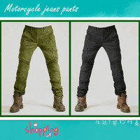 Motorcycle Jeans Pants Army Green Slacks Jeans Moto riding leisure Pants Loose Locomotive Komine Jeans with protectors