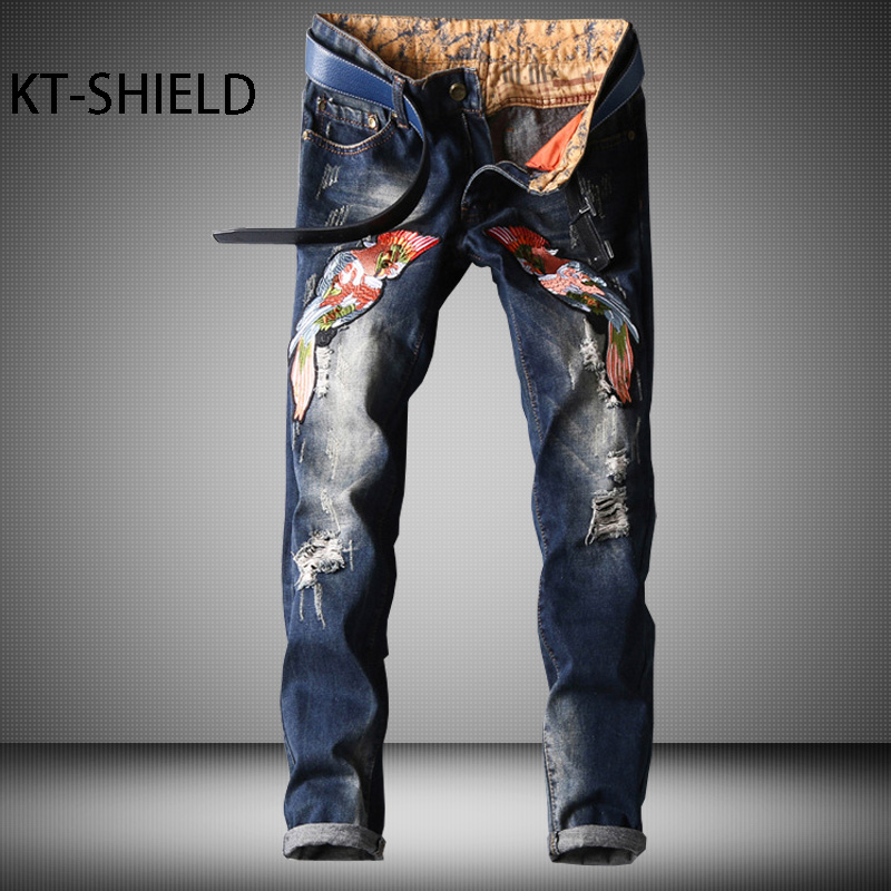 Mens clothing Biker Ripped Denim Jeans pants Fashion Cotton Masculina Pantalones Solid embroidery casual Vaqueros Hombre