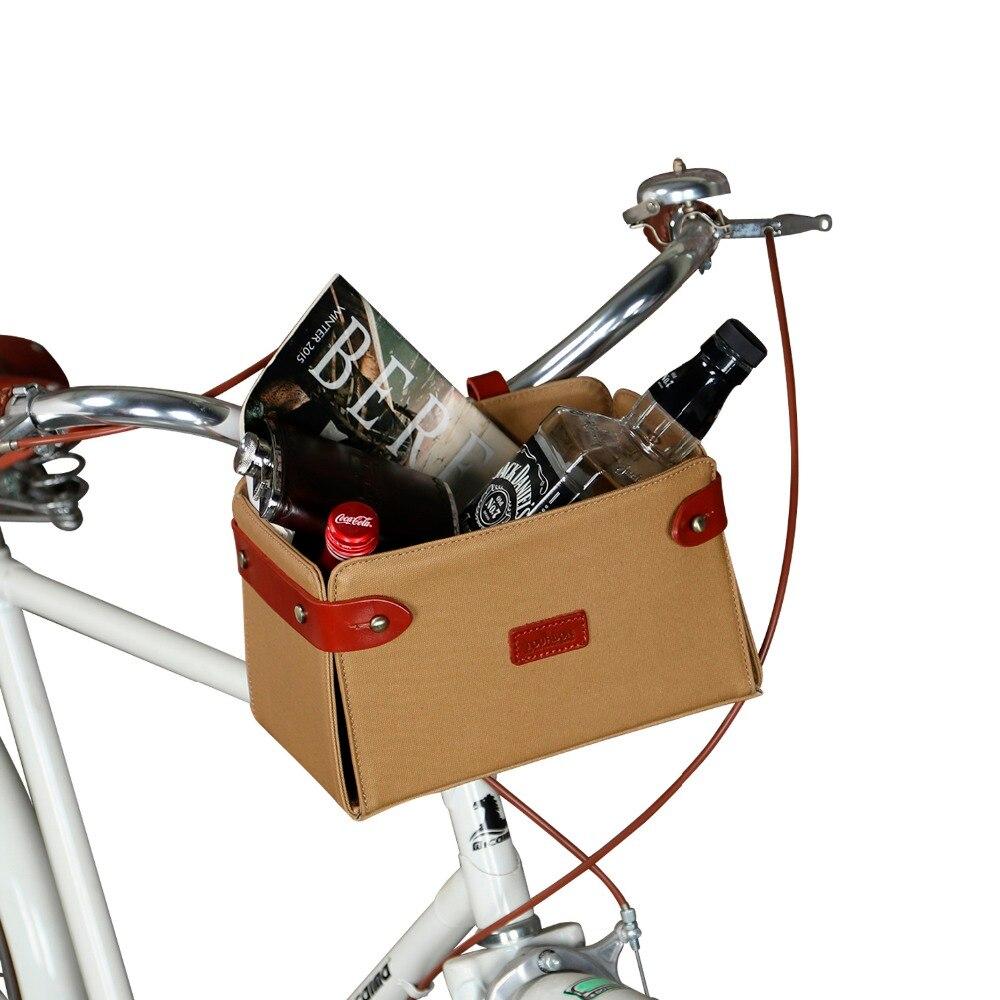 Tourbon Cestos de Bicicleta Guidão de Bicicleta Cesta Suporte Do Telefone Bolsa Do Vintage Lona Marrom Frente Traseira Acessórios de Ciclismo