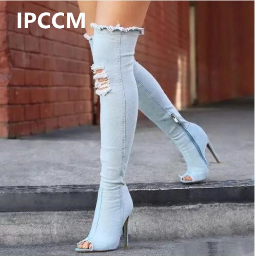 IPCCM Women Boots Summer Autumn Peep Toe Over The Knee Boots Quality High Elastic Jeans Fashion Boots High Heels Boots