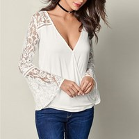 Celmia Autumn Female Deep V Neck Solid Sexy Pullover Blouse Leisure Unique Long Flare Sleeve Lace