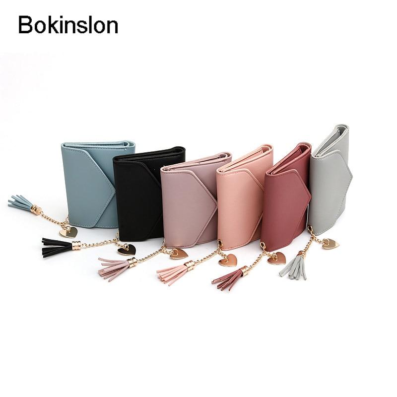 Bokinslon Short Section Women Wallet Solid Color PU Leather Female Wallet Simple Popular Ladies Brand Wallet цена 2017