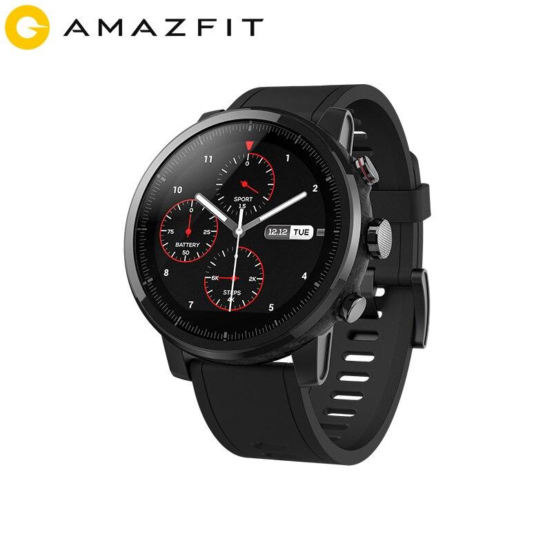 2019 nouveau Amazfit Stratos + montre intelligente phare bracelet en cuir véritable boîte cadeau saphir 2 S