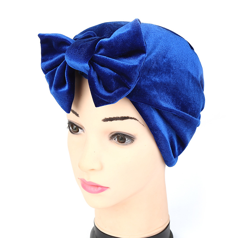 Womens Hats Muslim Indian Style Kerchief Covering HeadHat Confinement Cap Solid Color Bowknot Style Muslim Hat Headwear