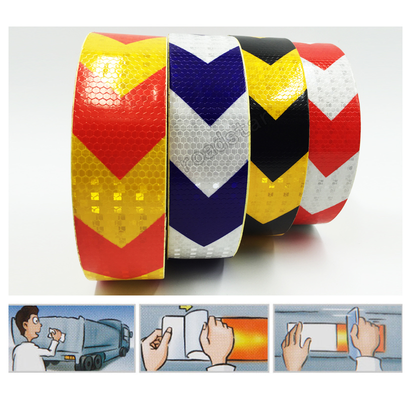 5cm X 10m Double Colors Arrow Pattern Mesh Reflective Ribbon Car Sticker Automotive Style Vehicle Truck Motorcycle Warning Film