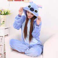 Winter Flanell Pyjamas Frauen Kigurumi Einhorn Onesies Niedlich Cartoon Tier Stich Unicornio Pyjamas Sets Nachtwäsche Nachtwäsche