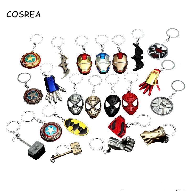 Marvel Keychain Key Ring Avengers Infinity War Lightning Cosplay Captain America Shield Batman Mask Gloves Toy Model Key Buckle