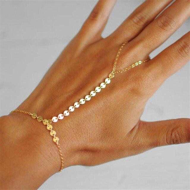 Modern Fashion Sequins Slave Bracelet For Women New Boho Knuckle Bracelets Finger Vintage Jewelry