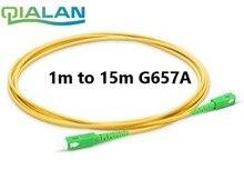 SC APC สายเคเบิลไฟเบอร์ออปติคอลสายไฟ 5m 2.0 มม.PVC G657A, 1m 2m 3m 10m จัมเปอร์ Simplex SM FTTH สาย