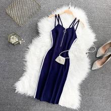 2019 new fashion women's dresses Strap zipper contrast color sports knit dress