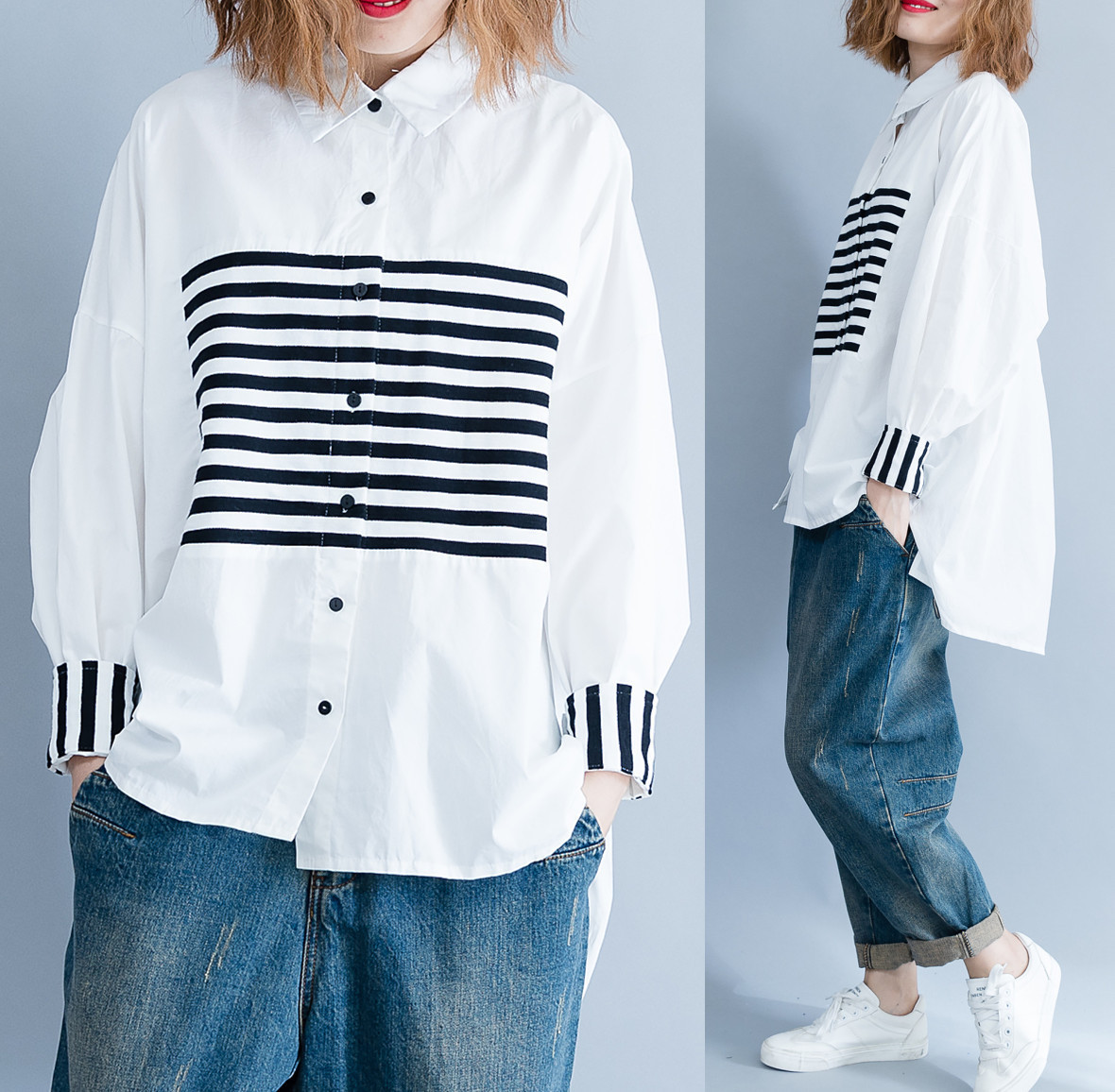 Moda White Lantren Mujer Collar abajo Giro Camisa Nueva Primavera Casual Shengpalae Sc223 De Rayas 2019 Manga TRZHfZa