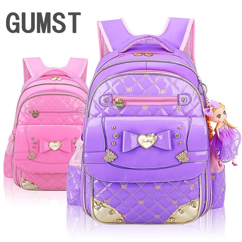 Girl School Bags PU Leather Bag 2019 Korean Children Schoolbag 1 - 3 - 6 Grade Girls Backpack Free Shipping