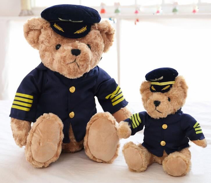High Quality New Cute Pilot Teddy Bear Plush Toy Captain Bear Doll Birthday Gift Kids Toy Baby Doll middle lovely plush high quality seal toy cute white seal doll gift about 35cm