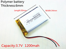 3.7V 1200mah 603450 Lithium Polymer Li-Po Rechargeable Battery For MP4 MP5 GPS PSP DVD mobile video game PAD E-books tablet PC