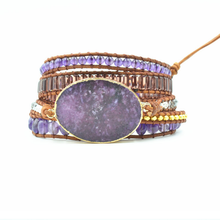 Vintage Natural Marine Stone Bracelet Women Crystal Quartz Charm Strands Wrap Bracelets Handmade Boho 2019 Jewelry