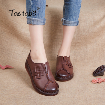 Tastabo Genuine Leather Flat Shoe 2019 Loafers Women Shoes New Arrival Work Driving Shoes Women Flats Comfortable