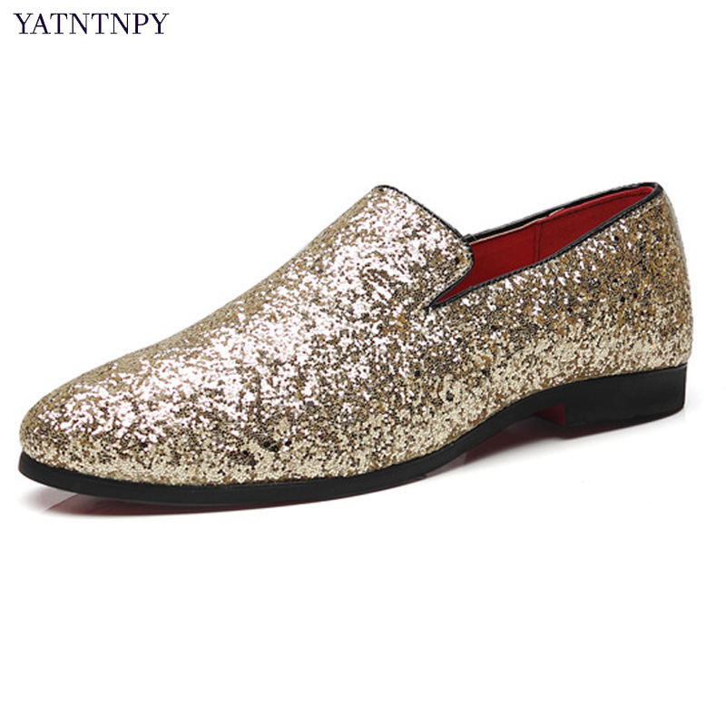 YATNTNPY Super Fashon Men Shoes Shiny Wedding Party Shoes Man Slip On Casual Leather Shoes Big Size Oxford Sequins Shoes