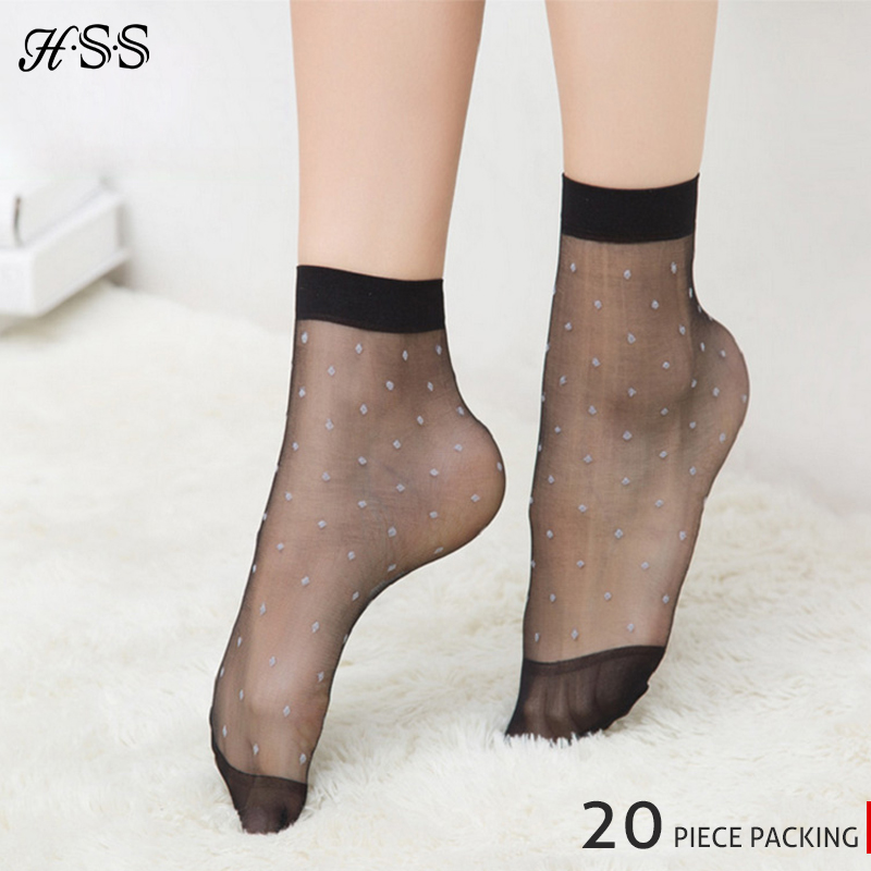 ec16b9e19 HSS Brand 10Pairs/Lot Crystal silk sock summer women's sexy socks White Dot  Transparent elastic girl socks Black Skin Coffee