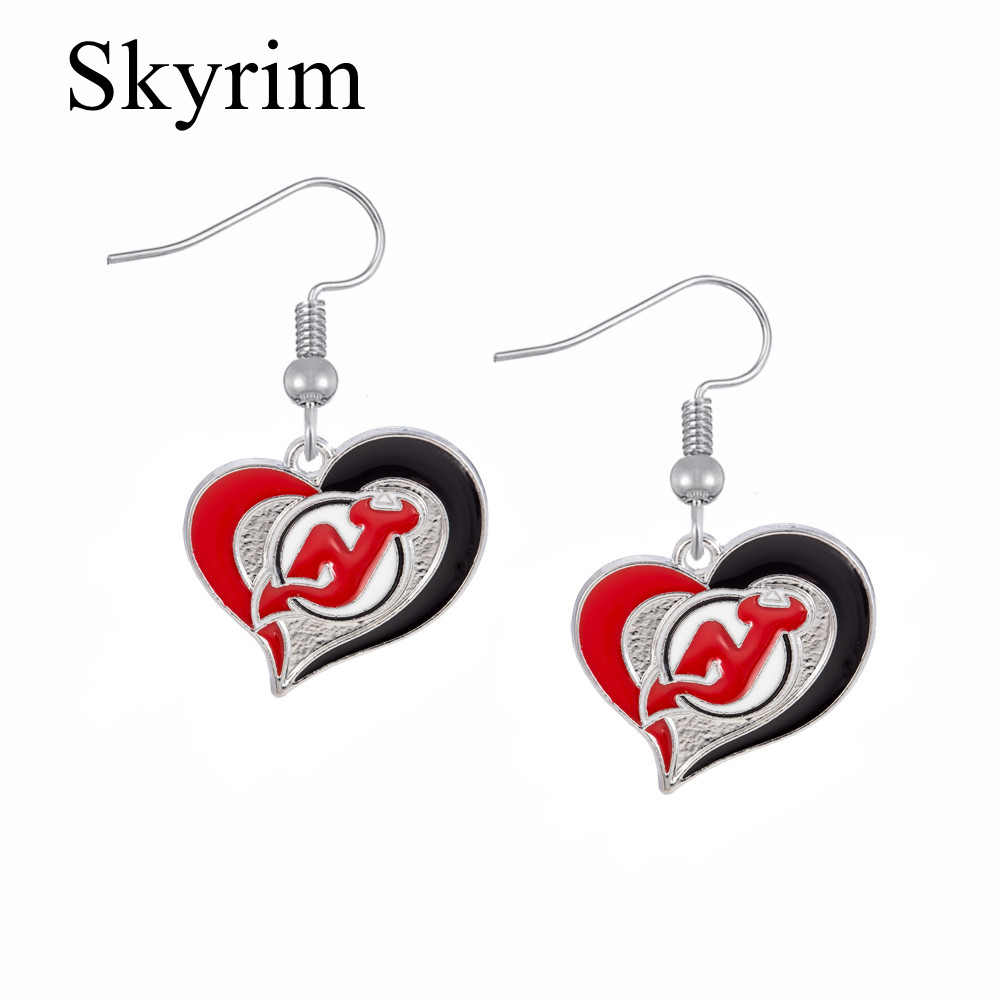 Skyrim New Jersey Devils Hockey Sports Earrings Red Heart Shape Charms  Beautiful Earrings For Women(