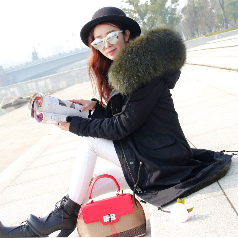 brand 2017 New big raccoon fur hooded winter jacket women parka oversize loose natural real fur coat for women thick warm liner