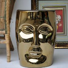 Высокое качество Большой размер китайский фарфор Серебряный Золотой Глазурованный керамический Сад лицо стул сиденье