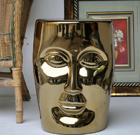 Высокое качество Большой Размеры китайский фарфор Серебряные; золотые глазированные Керамика сад лицо сидением