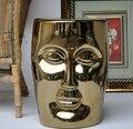 Alta Qualidade Grande de Cerâmica Porcelana Prata Dourada Garcen Rosto Assento Fezes