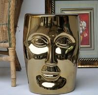 High Quality Big Ceramic Porcelain Silver Golden Garcen Face Stool Seat