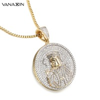 VANAXIN Play Card K King Pendants Necklace For Men Hip Hop Round Iced Out Classic Jewelry Cubic Zircons Stone Pendants For Women