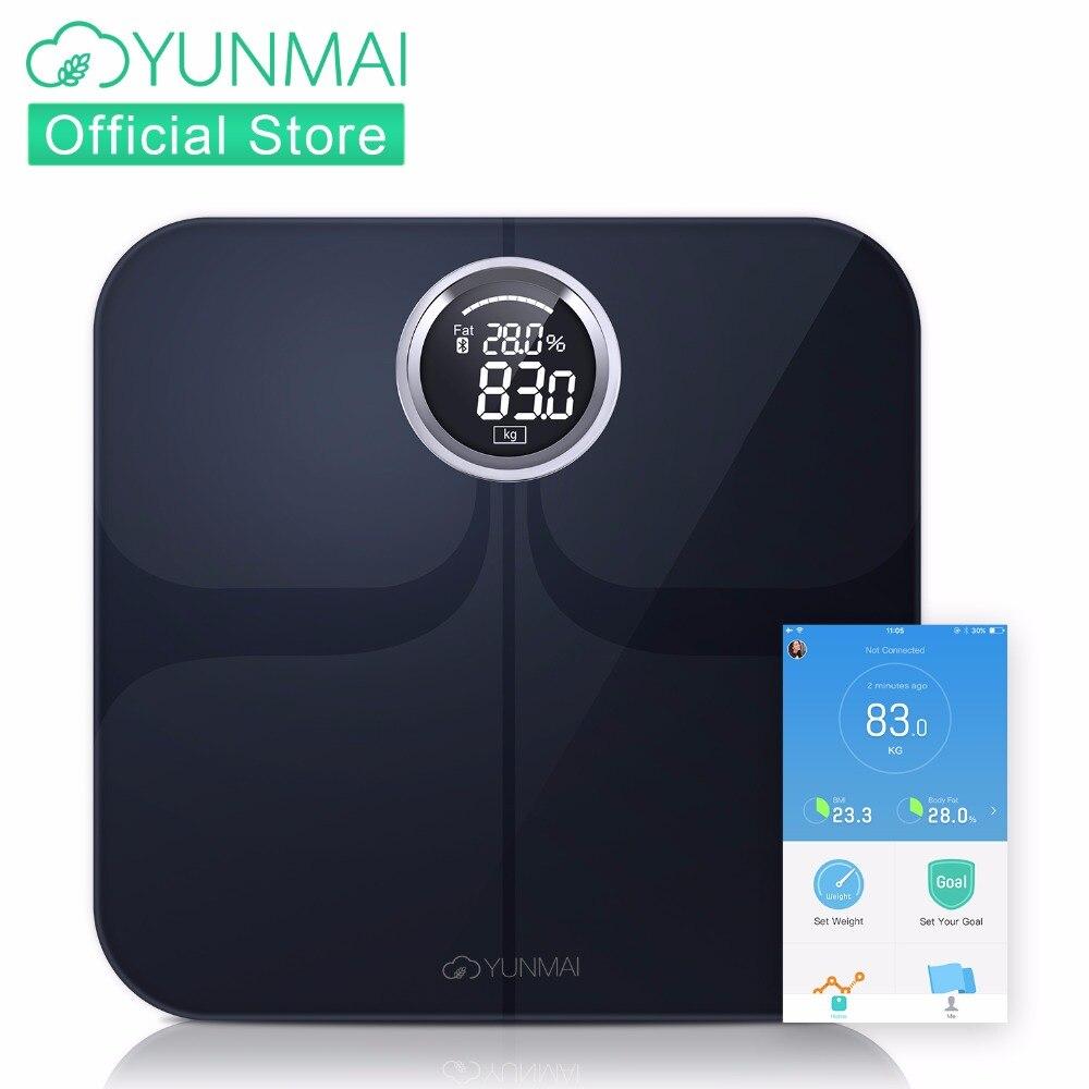 YUNMAI Премиум напольные весы Bluetooth Smart Вес весы светодио дный большой светодиодный дисплей, средства ухода за кожей жир мониторы с бесплатной ...