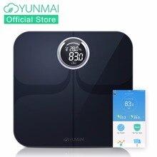 YUNMAI Премиум весы напольные Bluetooth Smart вес масштаба с большой светодиодный Дисплей, жира монитор с Бесплатная iOS и Android App