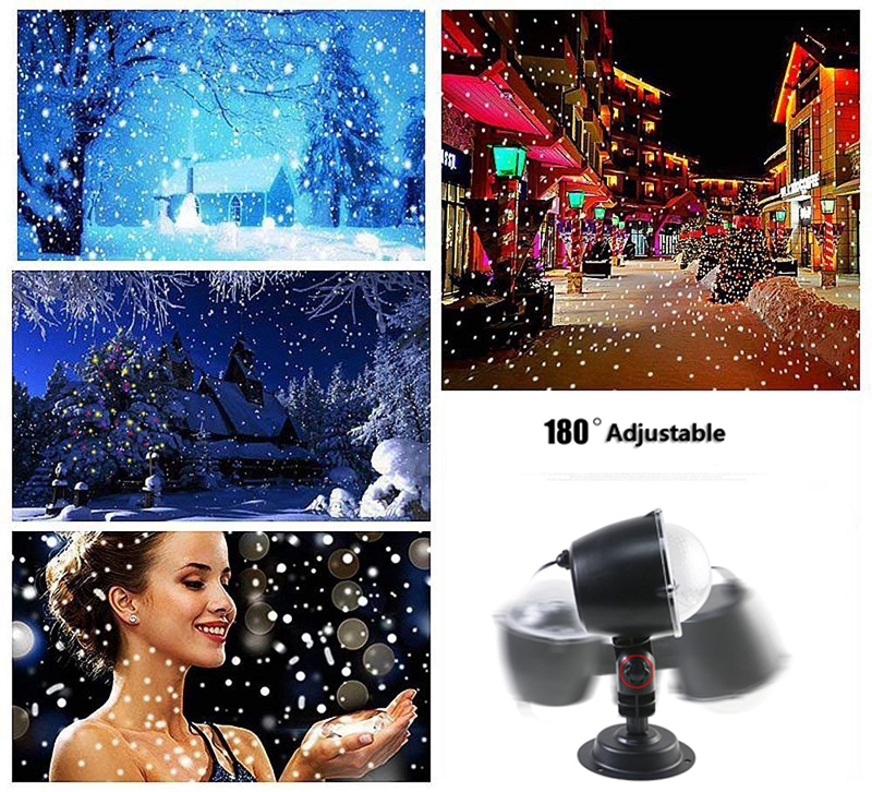 Snowfall Led Stage Lights Displays Projector Show Christmas Outdoor Indoor Rotating Snowflake Lamp Xmas Garden Landscape Decor (2)