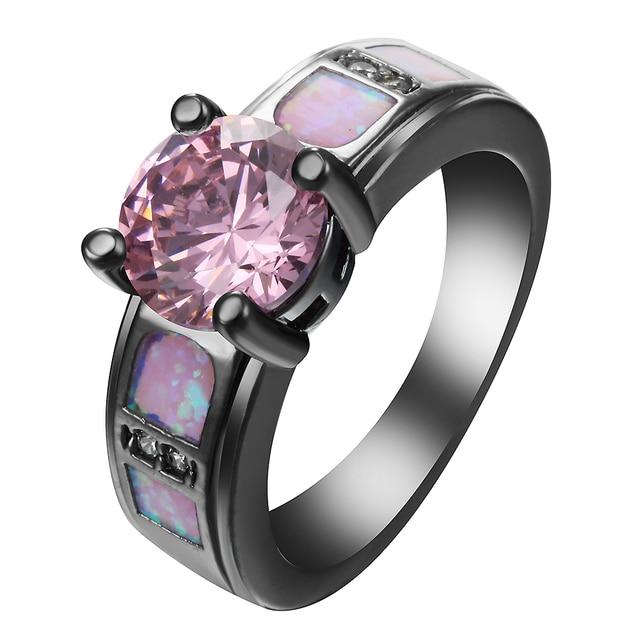 Rosa Opal Ring Schwarz Gold Farbe Band Einladungen Ringe Fow Frauen