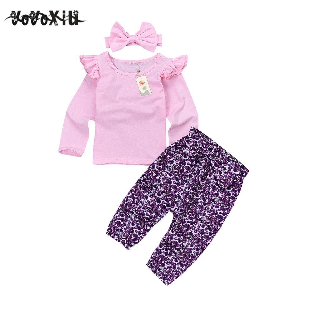2018 New yoyoxiu Newborn Toddler Baby Girls Long Sleeve ruffles T-shirt Tops +Floral Pants Leggings Outfits Clothes Baby Cloth