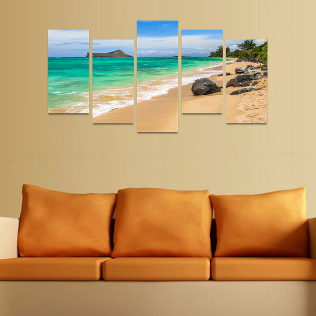 5 Panels Canvas Print Stone Beach And Ocean Waves Painting Wall Art ...