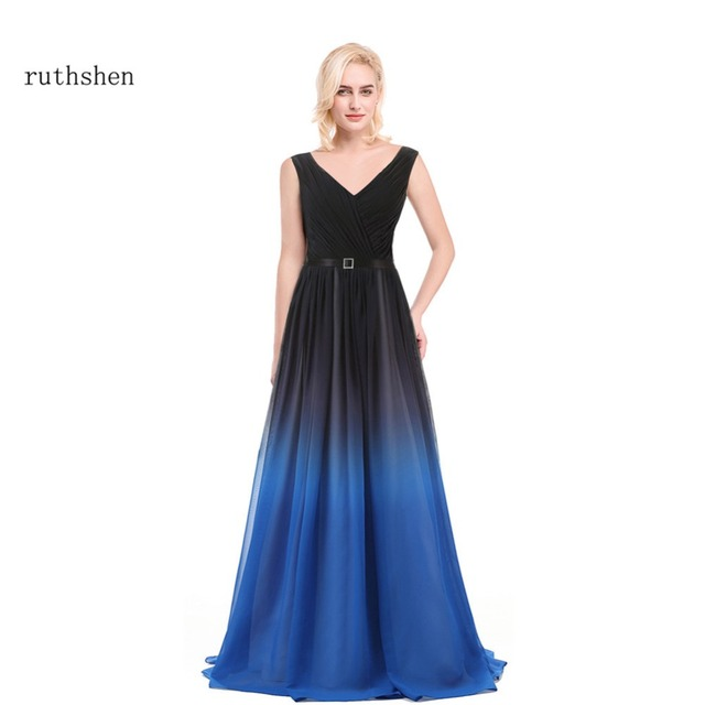 e28383e686 US $58.79 16% OFF|ruthshen Gradient Evening Dresses Black Blue Prom Dresses  2018 Cheap Real Photo Special Occasion Dress Vestido De Festa-in Evening ...