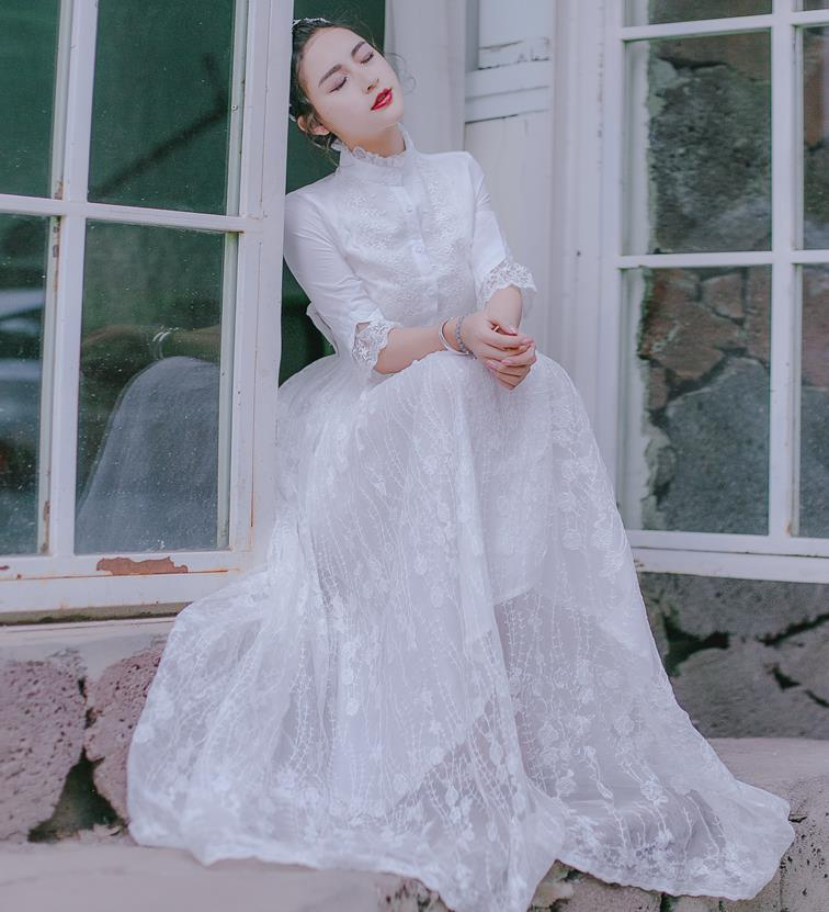 Fairy Élégant Dress Blanc Manches Three New 8021 Vintage Robes Femmes Trimestre Dentelle PTkXuOZi