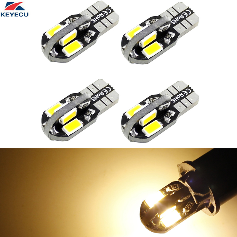 KEYECU 4 Pack Warm White W5W T10 8SMD 5730 Car Interior and Exterior Led Bulb for Map Dome Courtesy License Plate Light