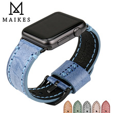 MAIKES Genuine Leather strap for Apple Watch band 42mm 38mm bracelet watchband for iwatch 3/2/1 Apple watch strap 44mm 40mm modern buckle strap for apple watch band 38mm 40mm 42mm 44mm bracelet genuine leather weave watchband for iwatch 4 3 2 1 belt